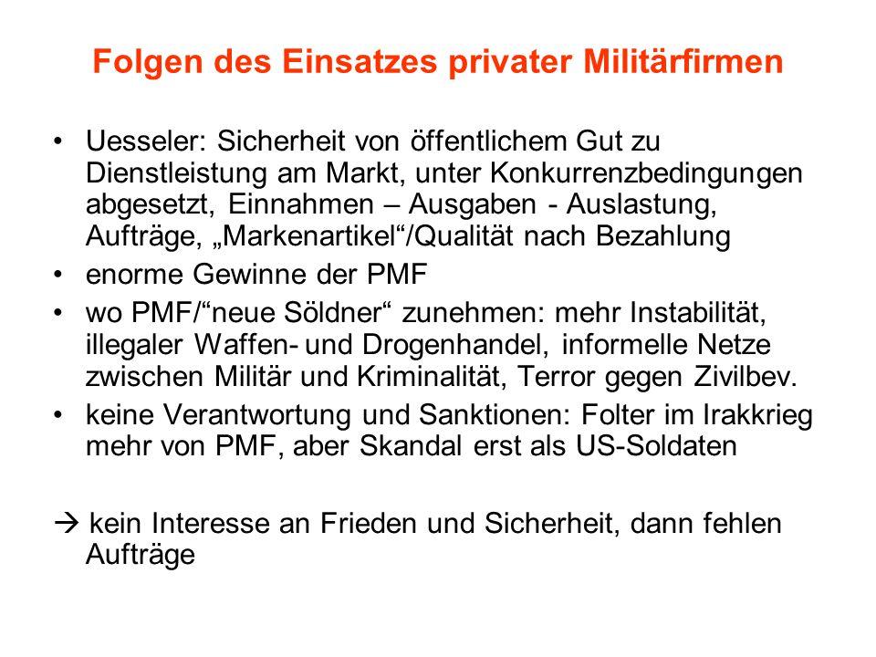 Folgen des Einsatzes privater Militärfirmen Uesseler: Sicherheit von öffentlichem Gut zu Dienstleistung am Markt, unter Konkurrenzbedingungen abgesetz