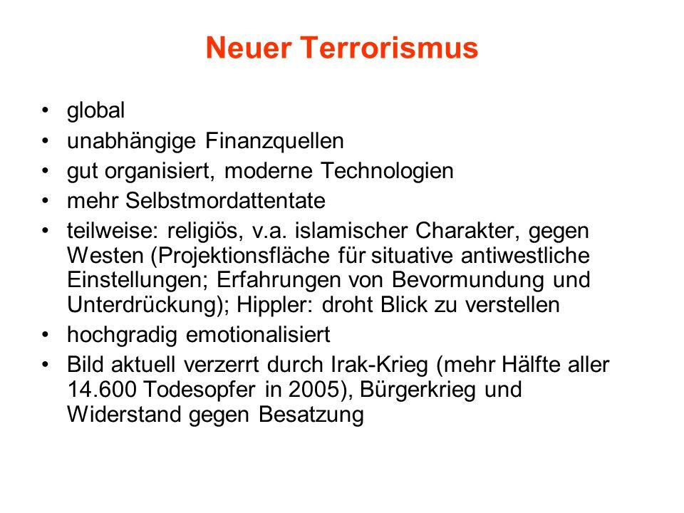 Neuer Terrorismus global unabhängige Finanzquellen gut organisiert, moderne Technologien mehr Selbstmordattentate teilweise: religiös, v.a. islamische
