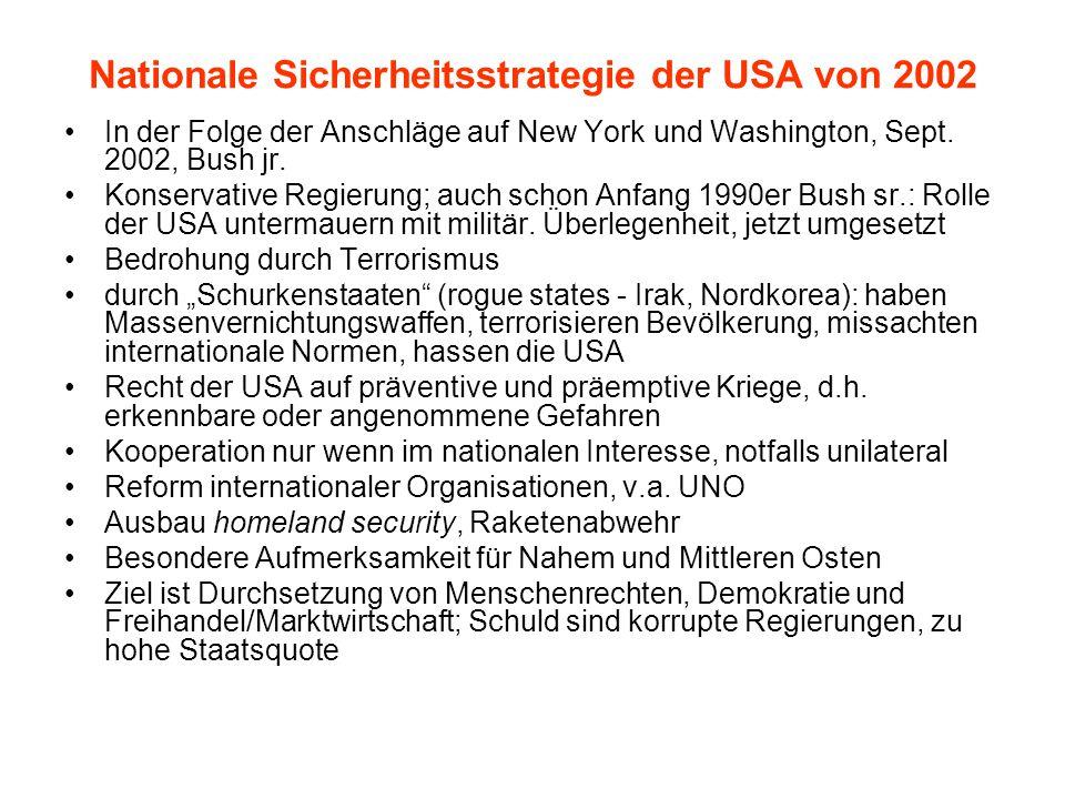 Nationale Sicherheitsstrategie der USA von 2002 In der Folge der Anschläge auf New York und Washington, Sept. 2002, Bush jr. Konservative Regierung; a