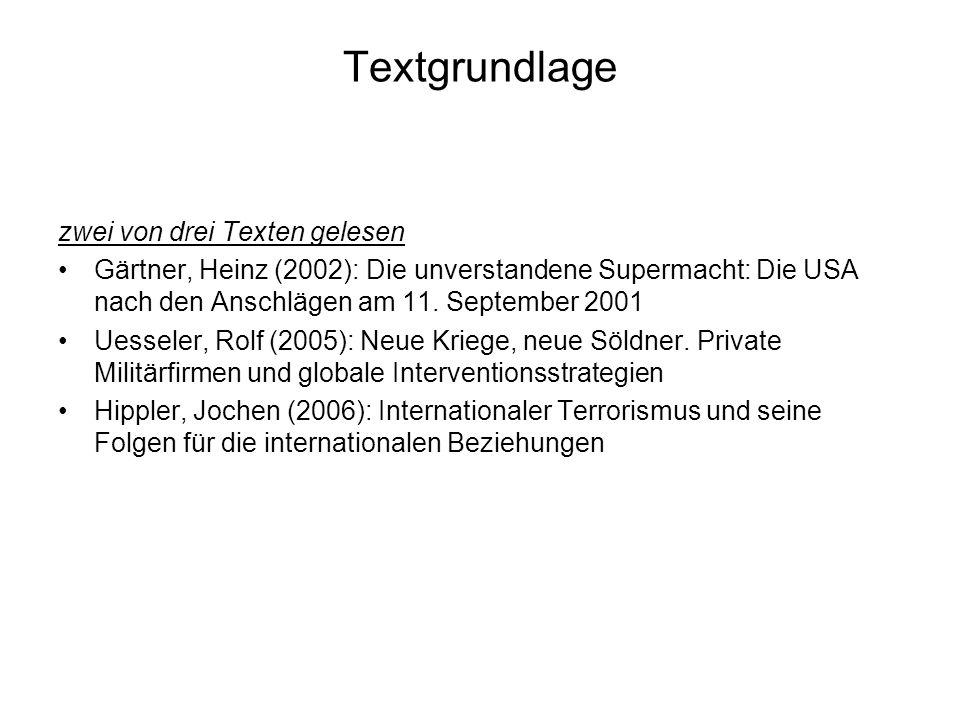 Textgrundlage zwei von drei Texten gelesen Gärtner, Heinz (2002): Die unverstandene Supermacht: Die USA nach den Anschlägen am 11. September 2001 Uess
