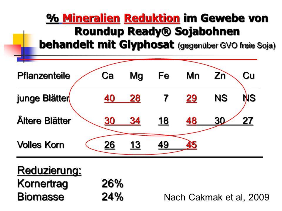 % Mineralien Reduktion im Gewebe von Roundup Ready® Sojabohnen behandelt mit Glyphosat (gegenüber GVO freie Soja) Pflanzenteile CaMgFeMnZnCu junge Blä