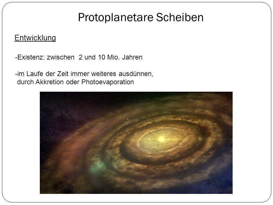 Protoplanetare Scheiben Entwicklung -Existenz: zwischen 2 und 10 Mio. Jahren -im Laufe der Zeit immer weiteres ausdünnen, durch Akkretion oder Photoev