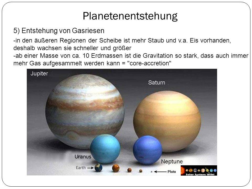 Planetenentstehung -in den äußeren Regionen der Scheibe ist mehr Staub und v.a. Eis vorhanden, deshalb wachsen sie schneller und größer -ab einer Mass