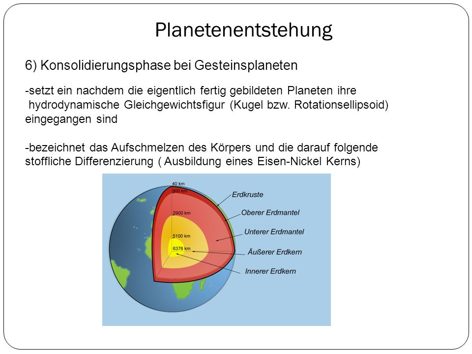 Planetenentstehung 6) Konsolidierungsphase bei Gesteinsplaneten -setzt ein nachdem die eigentlich fertig gebildeten Planeten ihre hydrodynamische Glei