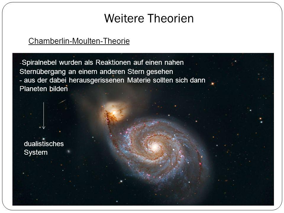 Weitere Theorien Chamberlin-Moulten-Theorie - Spiralnebel wurden als Reaktionen auf einen nahen Sternübergang an einem anderen Stern gesehen - aus der