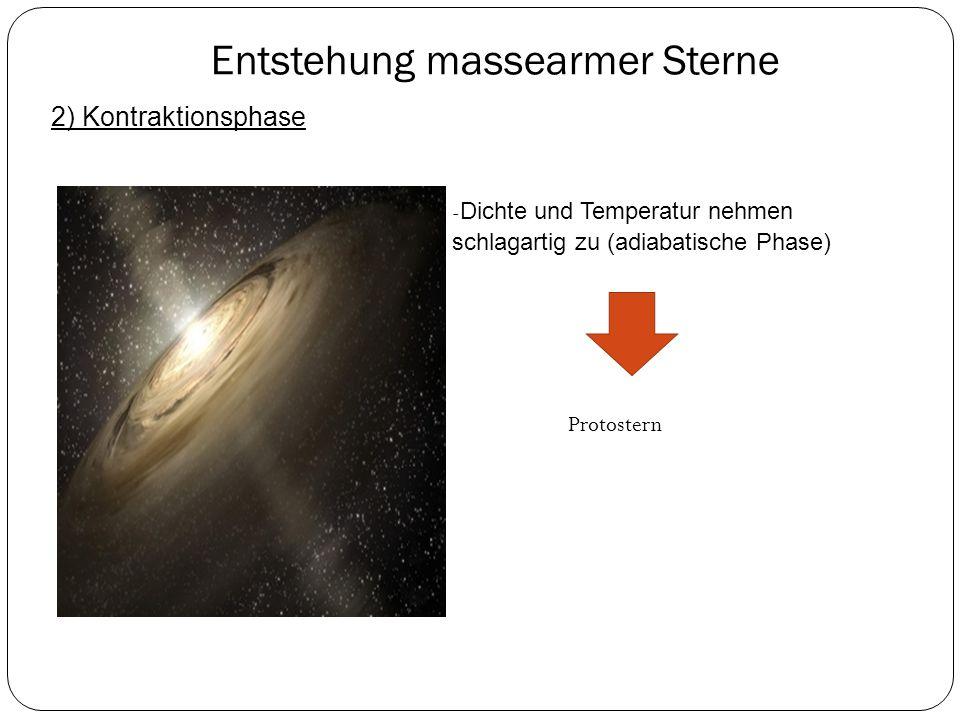 Entstehung massearmer Sterne 2) Kontraktionsphase - Dichte und Temperatur nehmen schlagartig zu (adiabatische Phase) Protostern