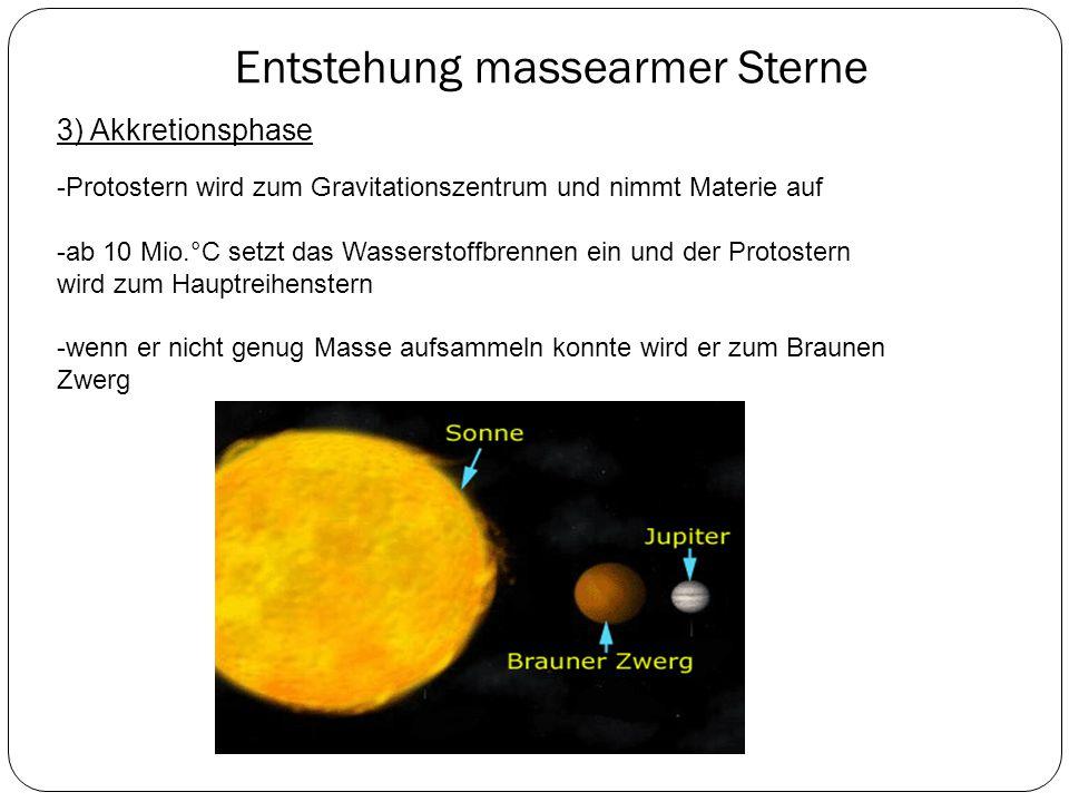 Entstehung massearmer Sterne 3) Akkretionsphase -Protostern wird zum Gravitationszentrum und nimmt Materie auf -ab 10 Mio.°C setzt das Wasserstoffbren
