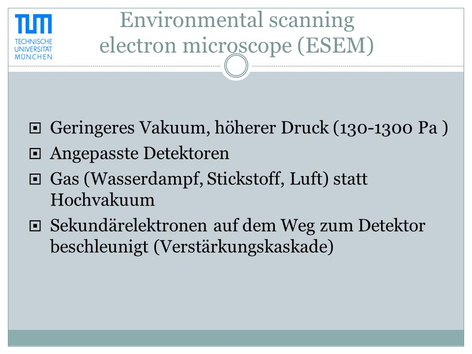 Environmental scanning electron microscope (ESEM)  Geringeres Vakuum, höherer Druck (130-1300 Pa )  Angepasste Detektoren  Gas (Wasserdampf, Sticks