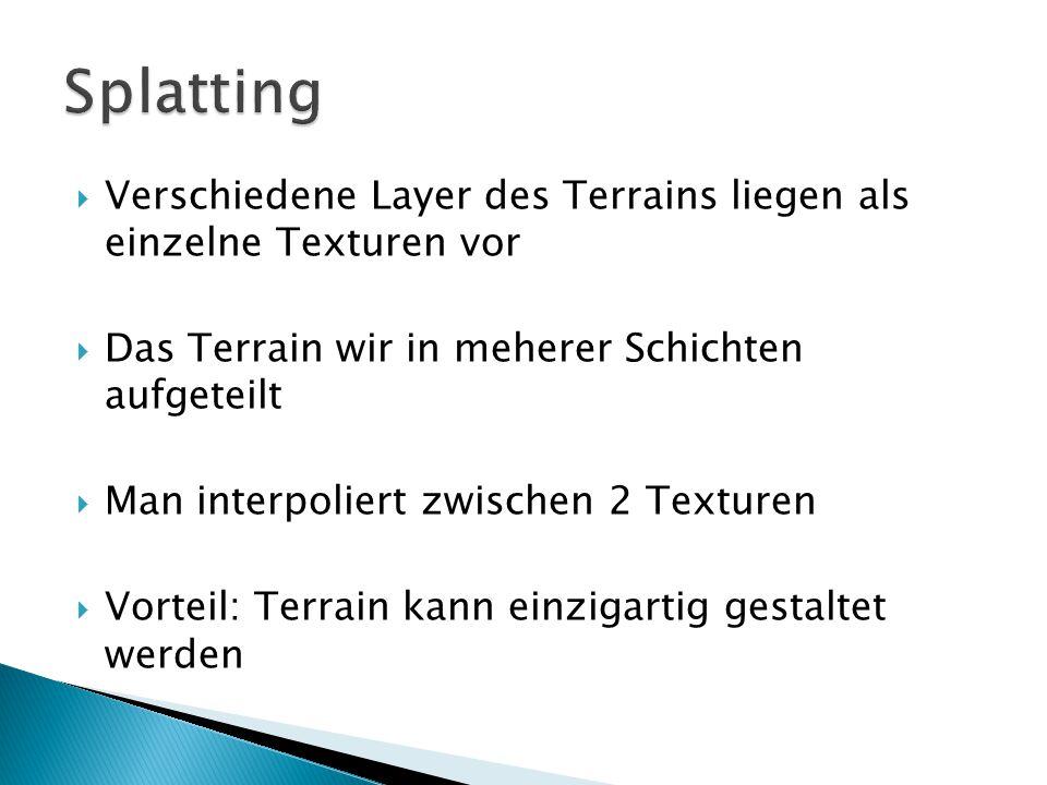  Verschiedene Layer des Terrains liegen als einzelne Texturen vor  Das Terrain wir in meherer Schichten aufgeteilt  Man interpoliert zwischen 2 Texturen  Vorteil: Terrain kann einzigartig gestaltet werden