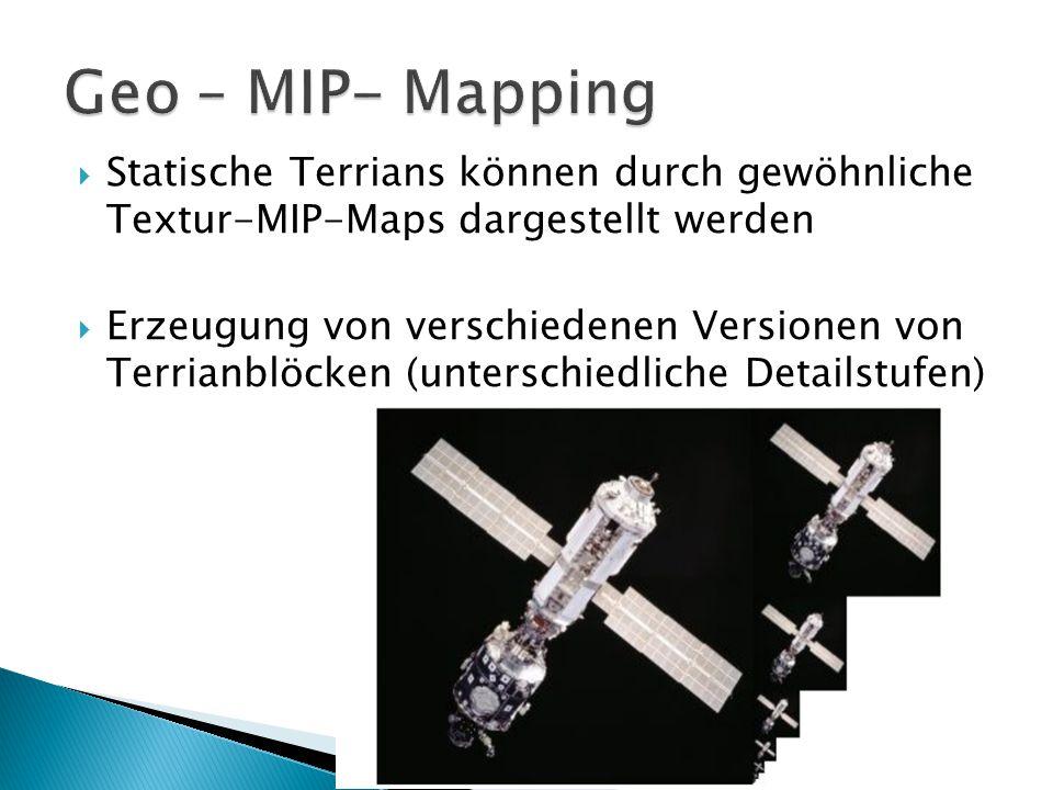  Statische Terrians können durch gewöhnliche Textur-MIP-Maps dargestellt werden  Erzeugung von verschiedenen Versionen von Terrianblöcken (unterschiedliche Detailstufen)