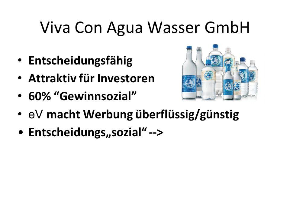 """Viva Con Agua Wasser GmbH Entscheidungsfähig Attraktiv für Investoren 60% """"Gewinnsozial"""" eV macht Werbung überflüssig/günstig Entscheidungs""""sozial"""" --"""
