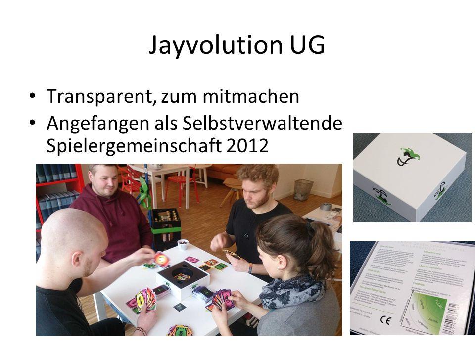Jayvolution UG Transparent, zum mitmachen Angefangen als Selbstverwaltende Spielergemeinschaft 2012