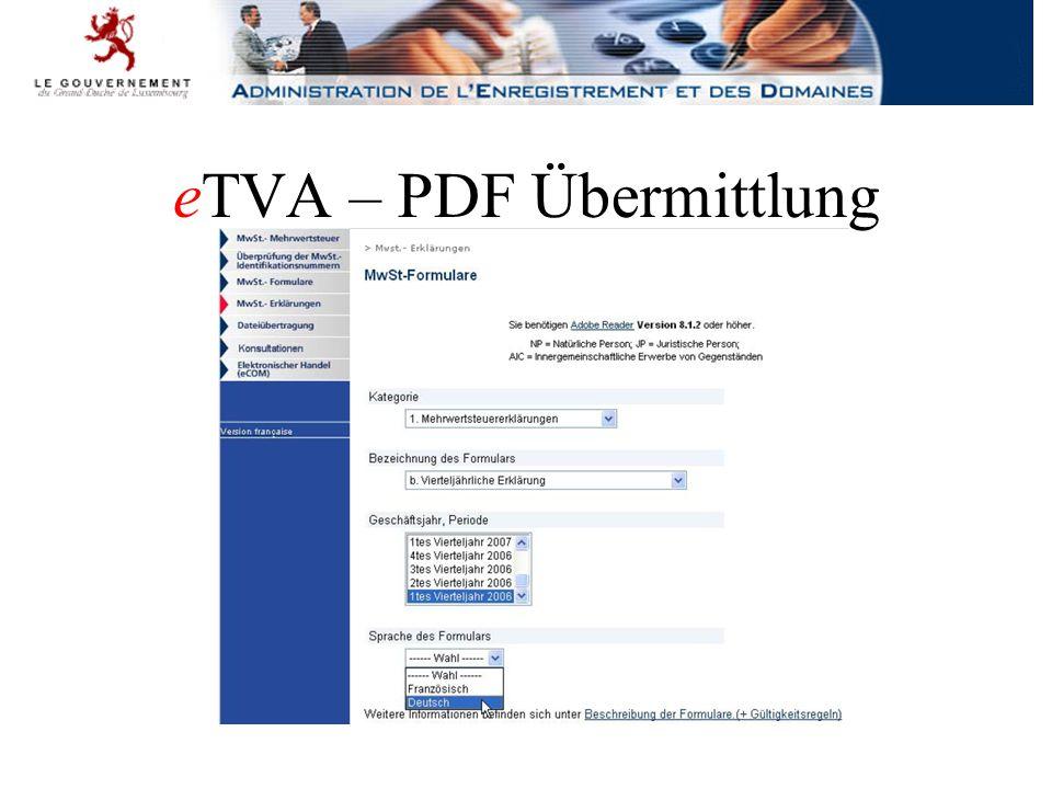 eTVA – PDF Übermittlung