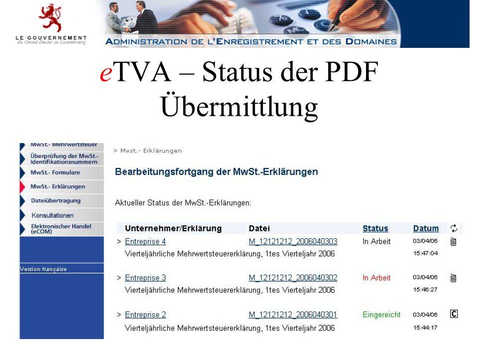 eTVA – Status der PDF Übermittlung