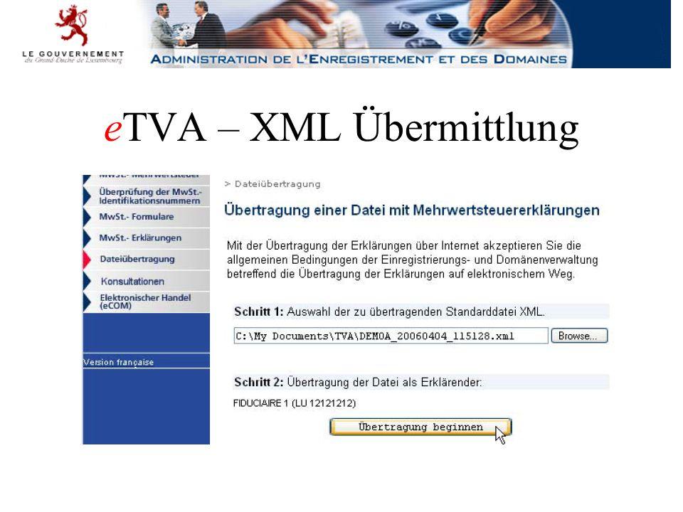 eTVA – XML Übermittlung