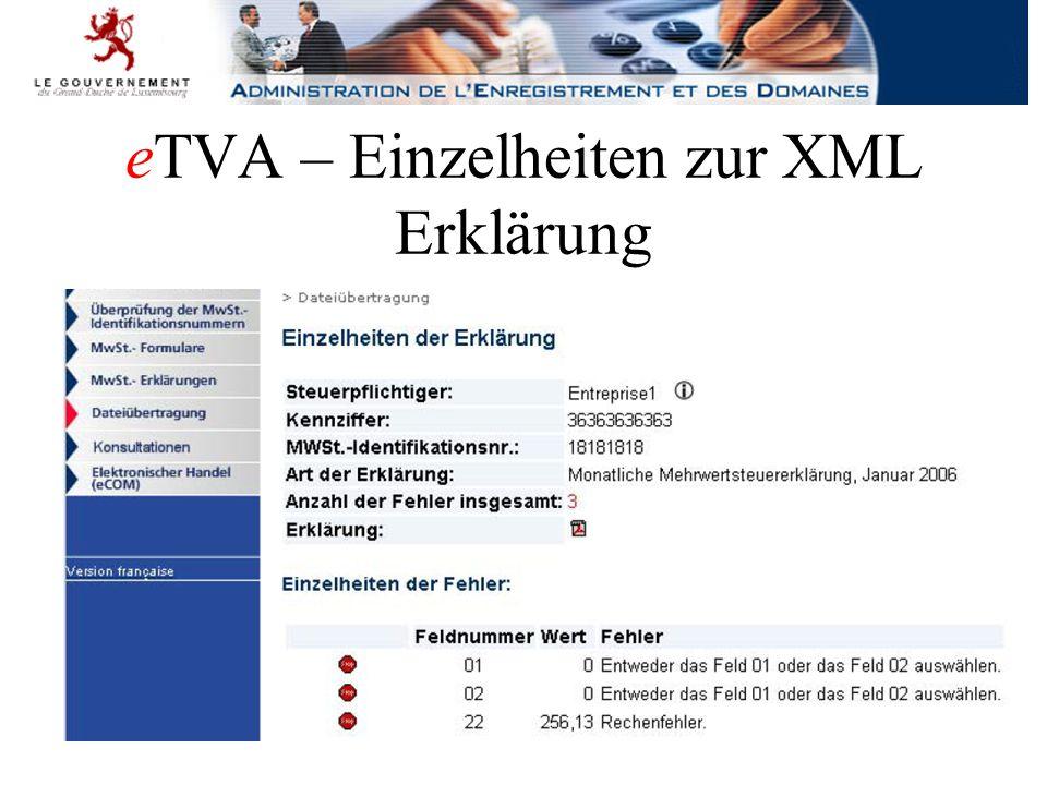 eTVA – Einzelheiten zur XML Erklärung