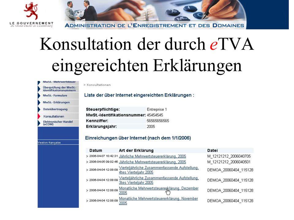 Konsultation der durch eTVA eingereichten Erklärungen