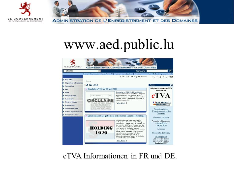 www.aed.public.lu eTVA Informationen in FR und DE.