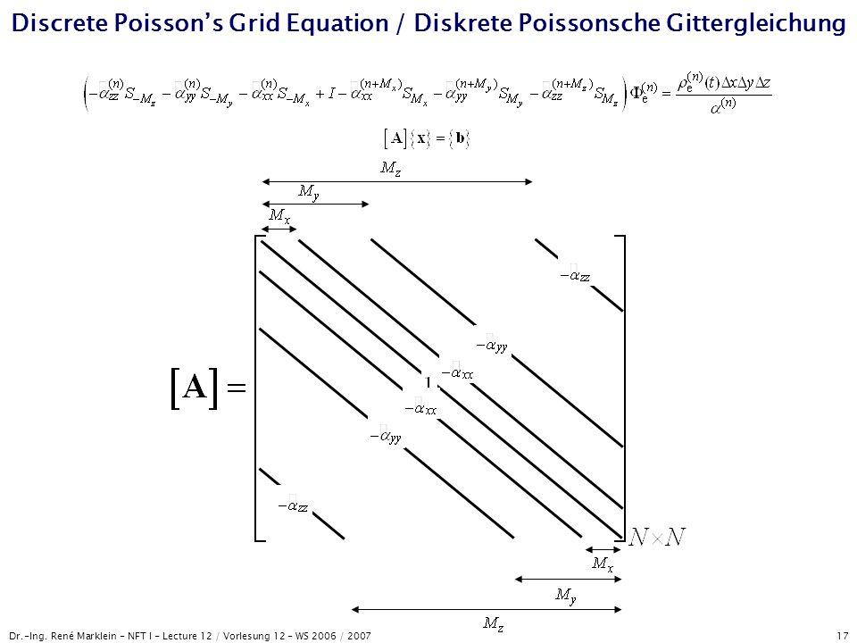 Dr.-Ing. René Marklein - NFT I - Lecture 12 / Vorlesung 12 - WS 2006 / 2007 17 Discrete Poisson's Grid Equation / Diskrete Poissonsche Gittergleichung