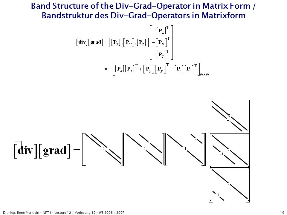 Dr.-Ing. René Marklein - NFT I - Lecture 12 / Vorlesung 12 - WS 2006 / 2007 19 Band Structure of the Div-Grad-Operator in Matrix Form / Bandstruktur d