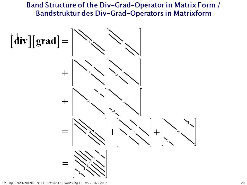 Dr.-Ing. René Marklein - NFT I - Lecture 12 / Vorlesung 12 - WS 2006 / 2007 20 Band Structure of the Div-Grad-Operator in Matrix Form / Bandstruktur d