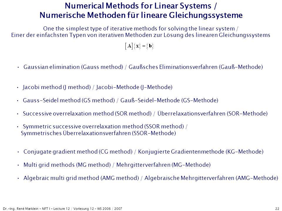 Dr.-Ing. René Marklein - NFT I - Lecture 12 / Vorlesung 12 - WS 2006 / 2007 22 Numerical Methods for Linear Systems / Numerische Methoden für lineare