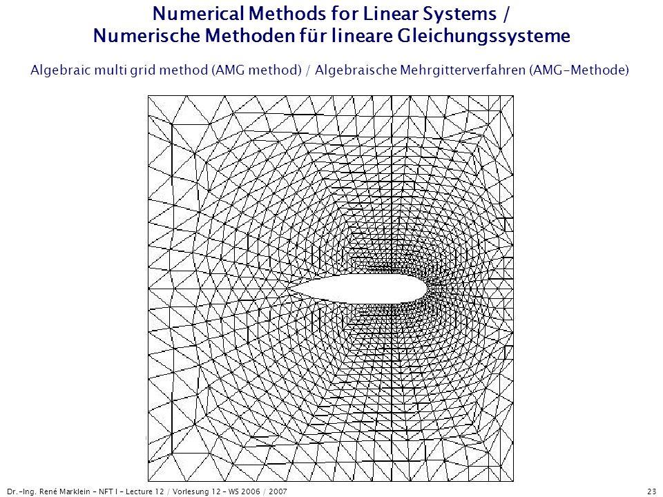 Dr.-Ing. René Marklein - NFT I - Lecture 12 / Vorlesung 12 - WS 2006 / 2007 23 Numerical Methods for Linear Systems / Numerische Methoden für lineare