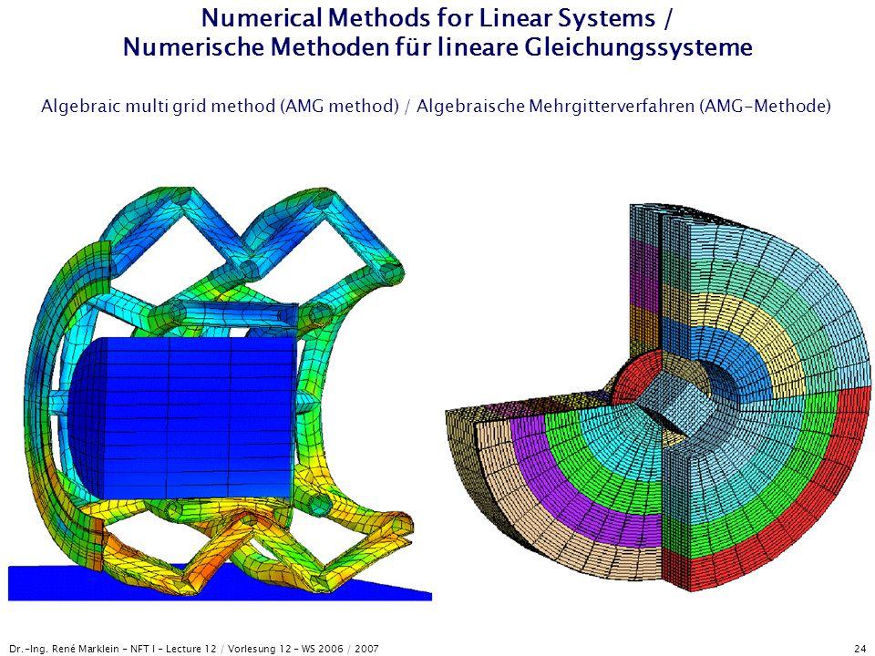 Dr.-Ing. René Marklein - NFT I - Lecture 12 / Vorlesung 12 - WS 2006 / 2007 24 Numerical Methods for Linear Systems / Numerische Methoden für lineare