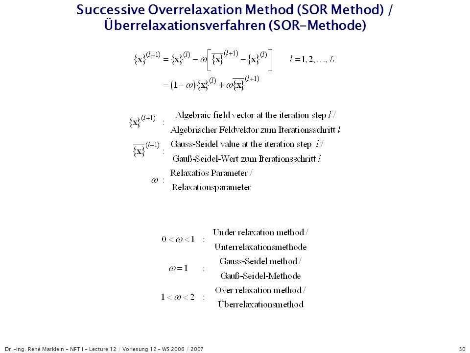 Dr.-Ing. René Marklein - NFT I - Lecture 12 / Vorlesung 12 - WS 2006 / 2007 30 Successive Overrelaxation Method (SOR Method) / Überrelaxationsverfahre