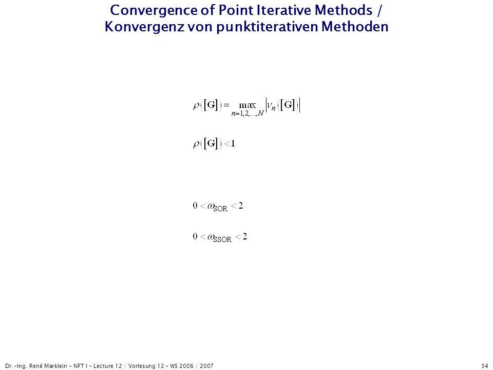 Dr.-Ing. René Marklein - NFT I - Lecture 12 / Vorlesung 12 - WS 2006 / 2007 34 Convergence of Point Iterative Methods / Konvergenz von punktiterativen