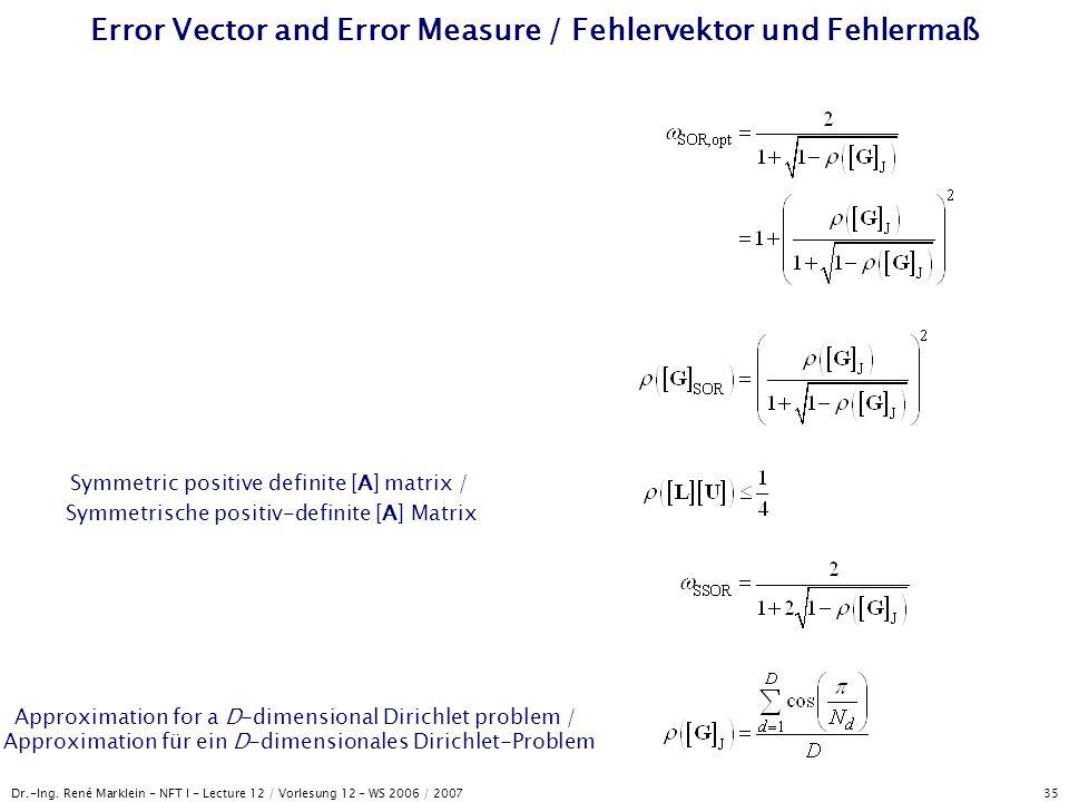 Dr.-Ing. René Marklein - NFT I - Lecture 12 / Vorlesung 12 - WS 2006 / 2007 35 Error Vector and Error Measure / Fehlervektor und Fehlermaß Symmetric p