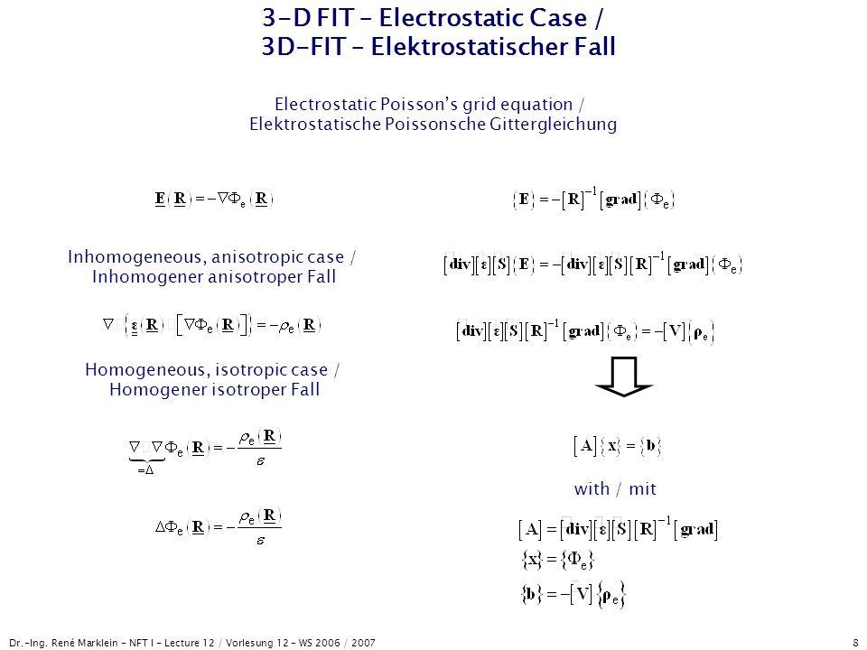 Dr.-Ing. René Marklein - NFT I - Lecture 12 / Vorlesung 12 - WS 2006 / 2007 8 3-D FIT – Electrostatic Case / 3D-FIT – Elektrostatischer Fall Electrost