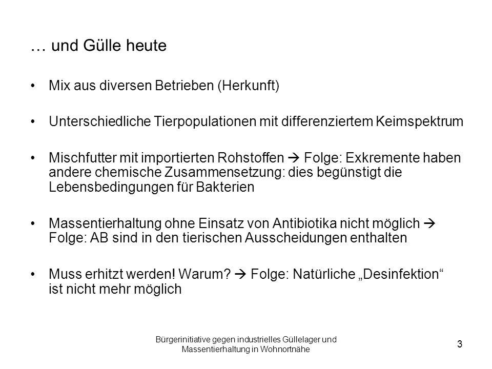 Bürgerinitiative gegen industrielles Güllelager und Massentierhaltung in Wohnortnähe 3 … und Gülle heute Mix aus diversen Betrieben (Herkunft) Untersc