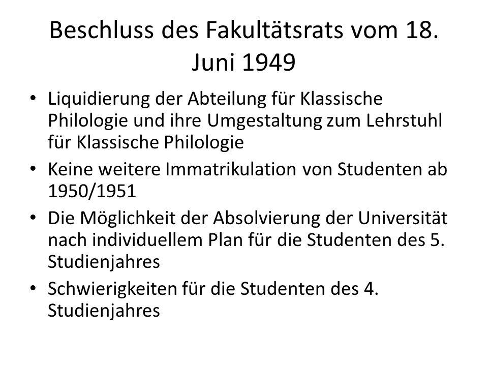 Beschluss des Fakultätsrats vom 18.