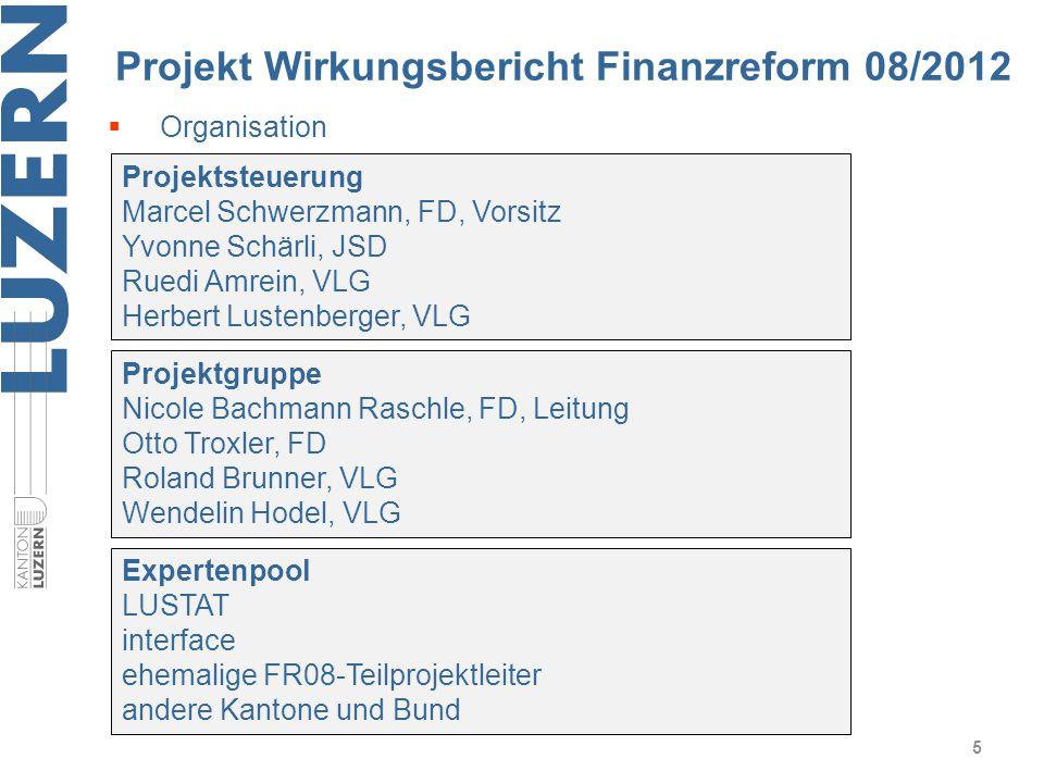 Projekt Wirkungsbericht Finanzreform 08/2012 5 Projektsteuerung Marcel Schwerzmann, FD, Vorsitz Yvonne Schärli, JSD Ruedi Amrein, VLG Herbert Lustenbe