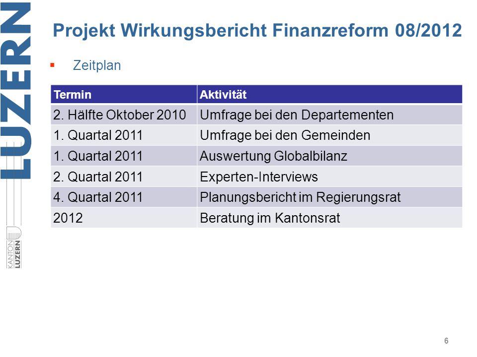 Projekt Wirkungsbericht Finanzreform 08/2012 6  Zeitplan TerminAktivität 2. Hälfte Oktober 2010Umfrage bei den Departementen 1. Quartal 2011Umfrage b