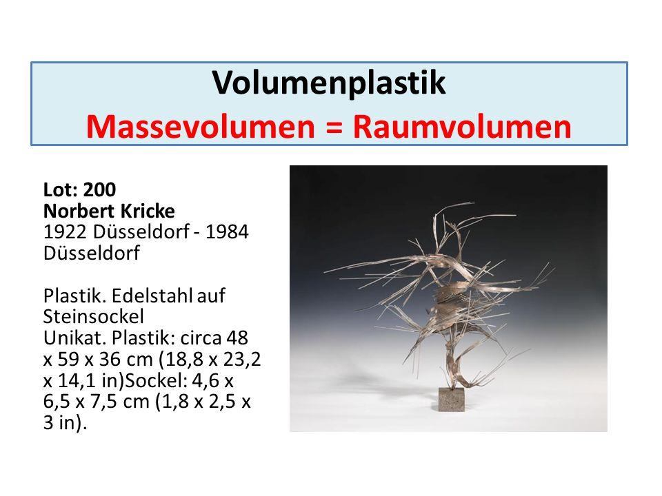 Volumenplastik Massevolumen = Raumvolumen Lot: 200 Norbert Kricke 1922 Düsseldorf - 1984 Düsseldorf Plastik. Edelstahl auf Steinsockel Unikat. Plastik