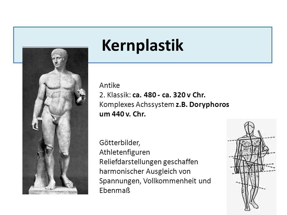 Kernplastik Antike 2. Klassik: ca. 480 - ca. 320 v Chr. Komplexes Achssystem z.B. Doryphoros um 440 v. Chr. Götterbilder, Athletenfiguren Reliefdarste