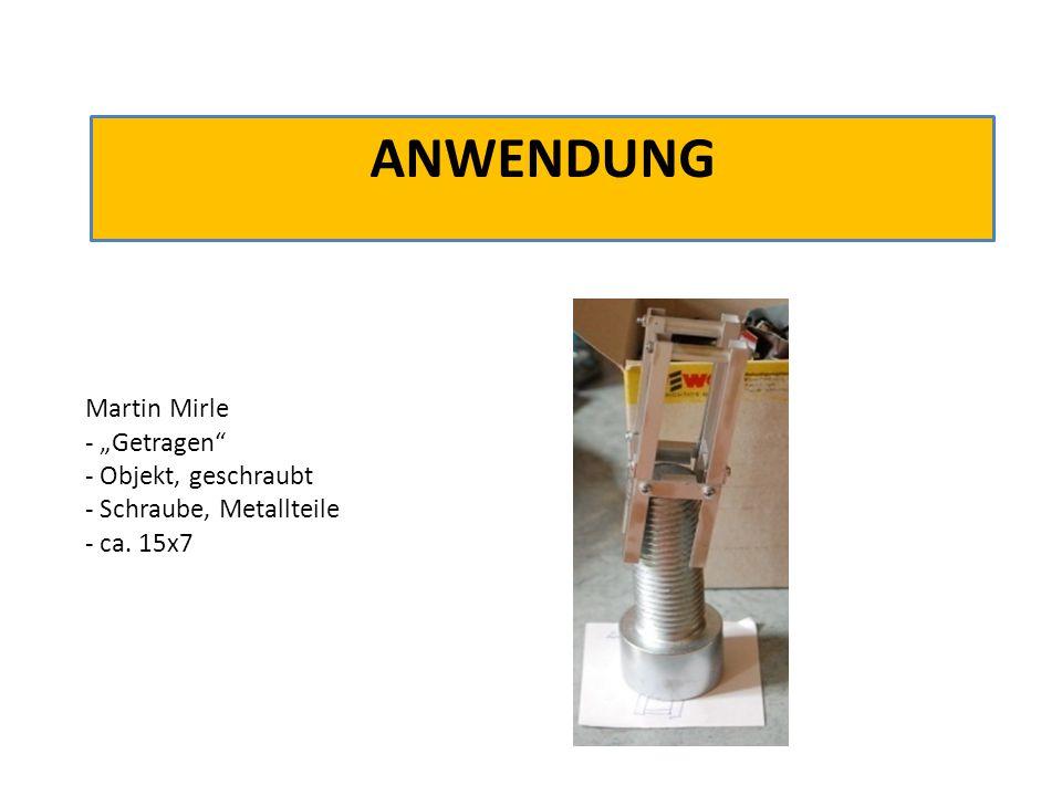 """ANWENDUNG Martin Mirle - """"Getragen"""" - Objekt, geschraubt - Schraube, Metallteile - ca. 15x7"""