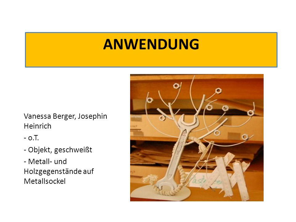 ANWENDUNG Vanessa Berger, Josephin Heinrich - o.T. - Objekt, geschweißt - Metall- und Holzgegenstände auf Metallsockel