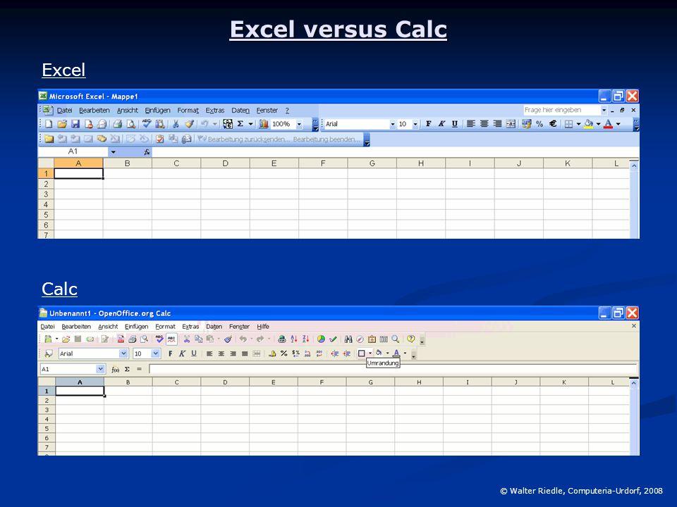 Excel versus Calc © Walter Riedle, Computeria-Urdorf, 2008 Excel Calc