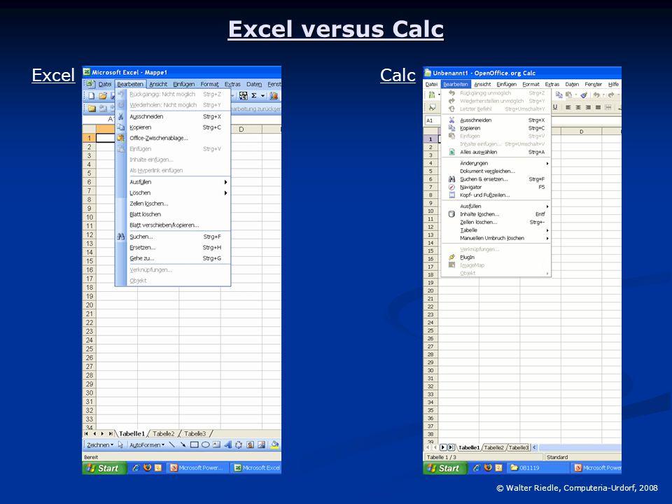 Excel versus Calc © Walter Riedle, Computeria-Urdorf, 2008 ExcelCalc