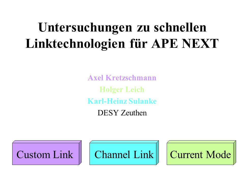 Untersuchungen zu schnellen Linktechnologien für APE NEXT Axel Kretzschmann Holger Leich Karl-Heinz Sulanke DESY Zeuthen Custom LinkChannel LinkCurren