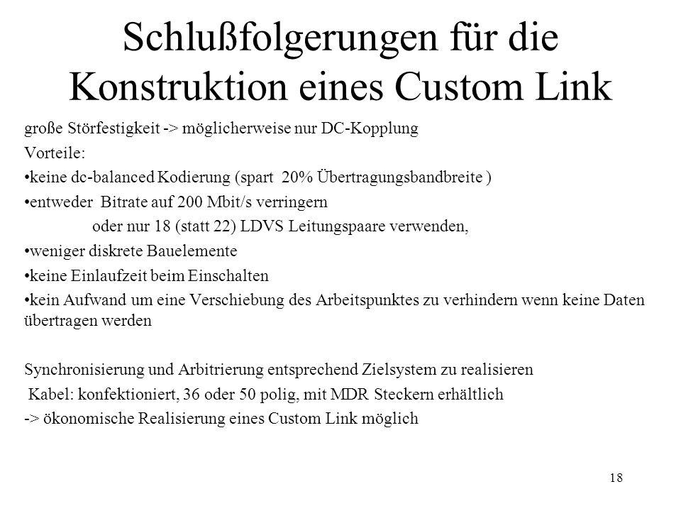 18 Schlußfolgerungen für die Konstruktion eines Custom Link große Störfestigkeit -> möglicherweise nur DC-Kopplung Vorteile: keine dc-balanced Kodieru