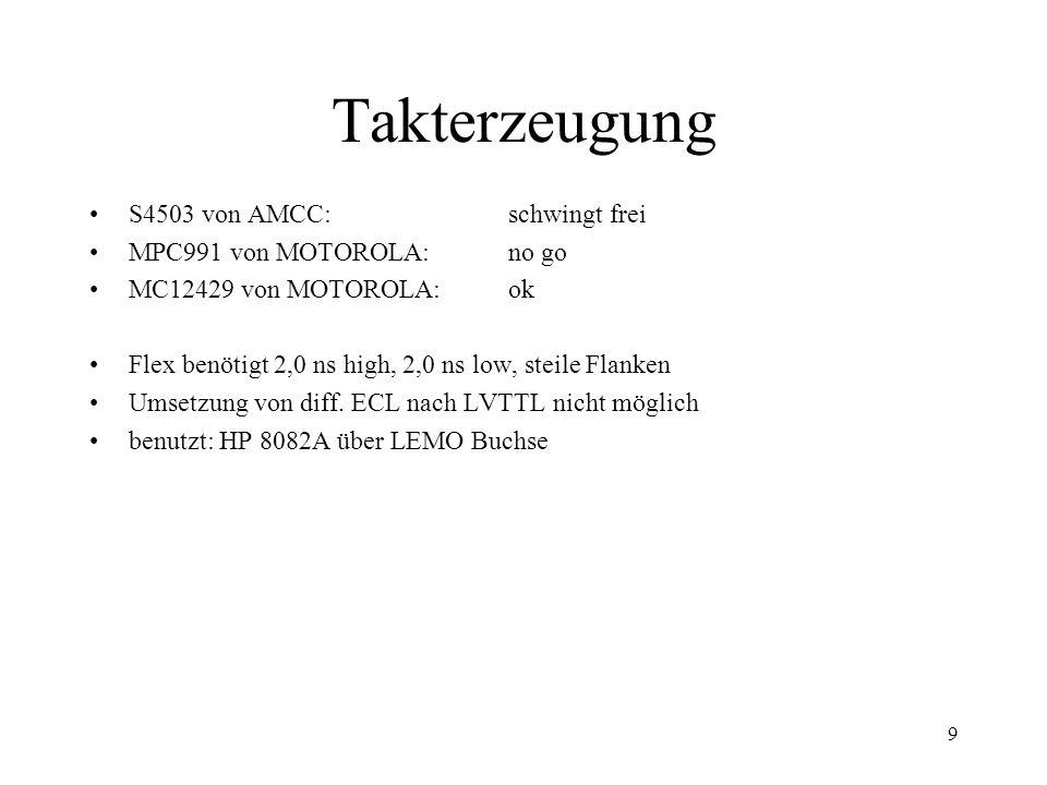9 Takterzeugung S4503 von AMCC: schwingt frei MPC991 von MOTOROLA: no go MC12429 von MOTOROLA:ok Flex benötigt 2,0 ns high, 2,0 ns low, steile Flanken