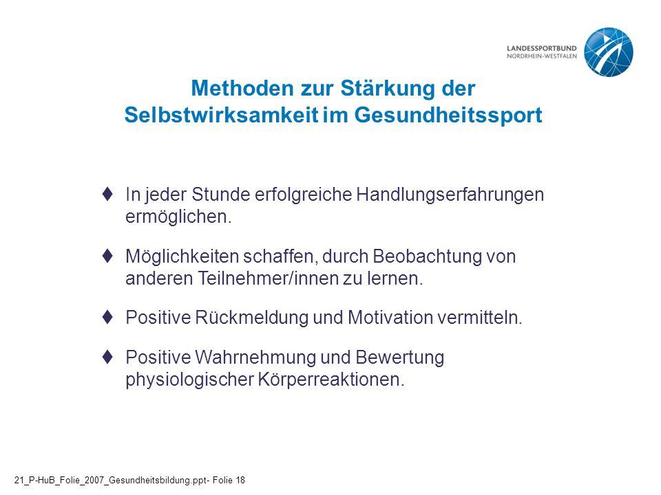 Methoden zur Stärkung der Selbstwirksamkeit im Gesundheitssport  In jeder Stunde erfolgreiche Handlungserfahrungen ermöglichen.  Möglichkeiten schaf