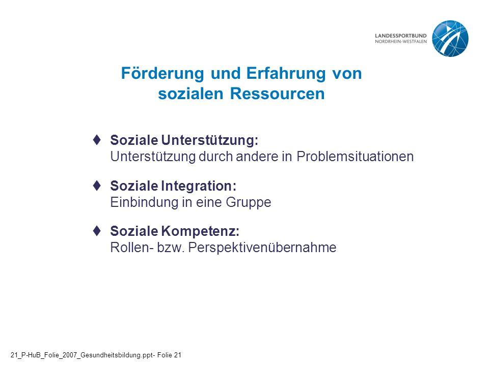 Förderung und Erfahrung von sozialen Ressourcen  Soziale Unterstützung: Unterstützung durch andere in Problemsituationen  Soziale Integration: Einbi