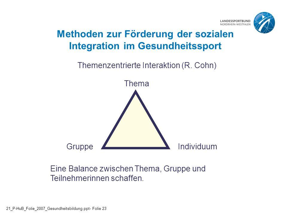 Methoden zur Förderung der sozialen Integration im Gesundheitssport Themenzentrierte Interaktion (R. Cohn) Eine Balance zwischen Thema, Gruppe und Tei