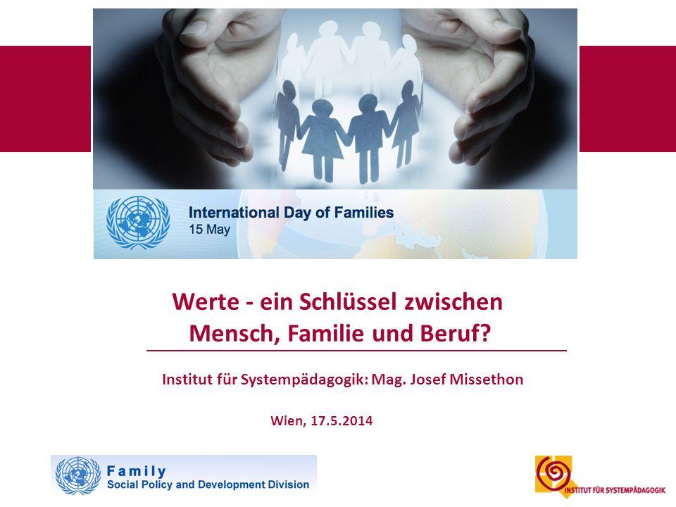 Institut für Systempädagogik: Mag. Josef Missethon Wien, 17.5.2014 Werte - ein Schlüssel zwischen Mensch, Familie und Beruf?