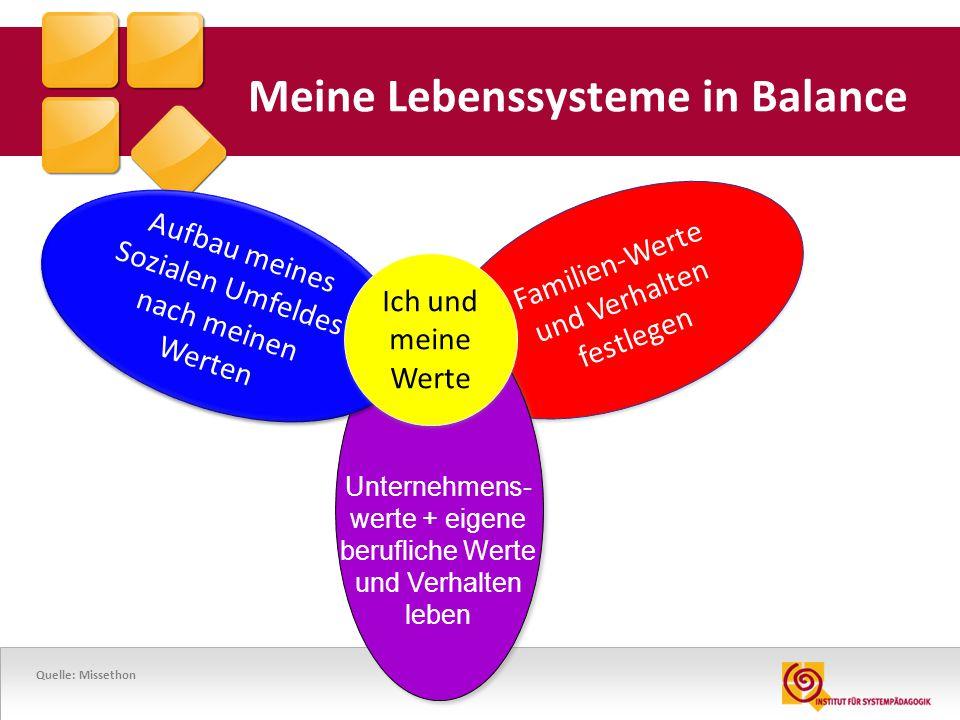 29 Meine Lebenssysteme in Balance Familien-Werte und Verhalten festlegen Familien-Werte und Verhalten festlegen Aufbau meines Sozialen Umfeldes nach m